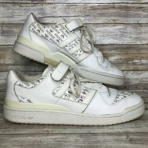 adidas 14M White Leather All Over Logo Sneakers